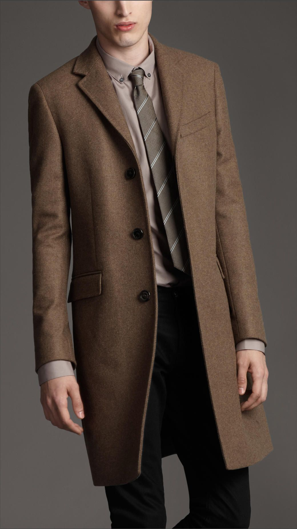 Burberry London men's concealed button wool pea coat | Men's ...