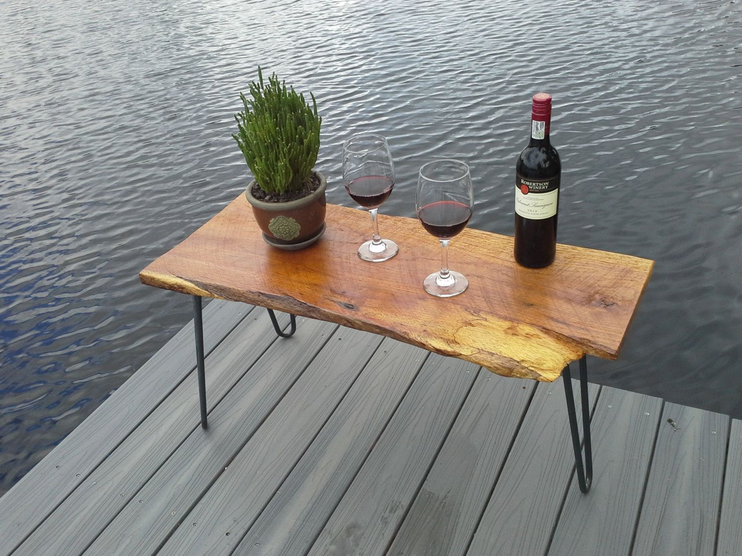 Live Edge Coffee Table   Three Hair Pin Legs With Pecky Cypress Wood Top
