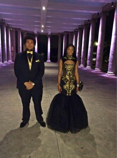 Black And Gold Mermaid Prom Dress African Prom Dresses