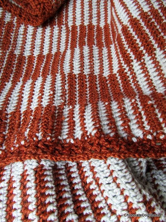 Crochet Afghan Pattern Checkerboard Pattern Copper Cream Blanket