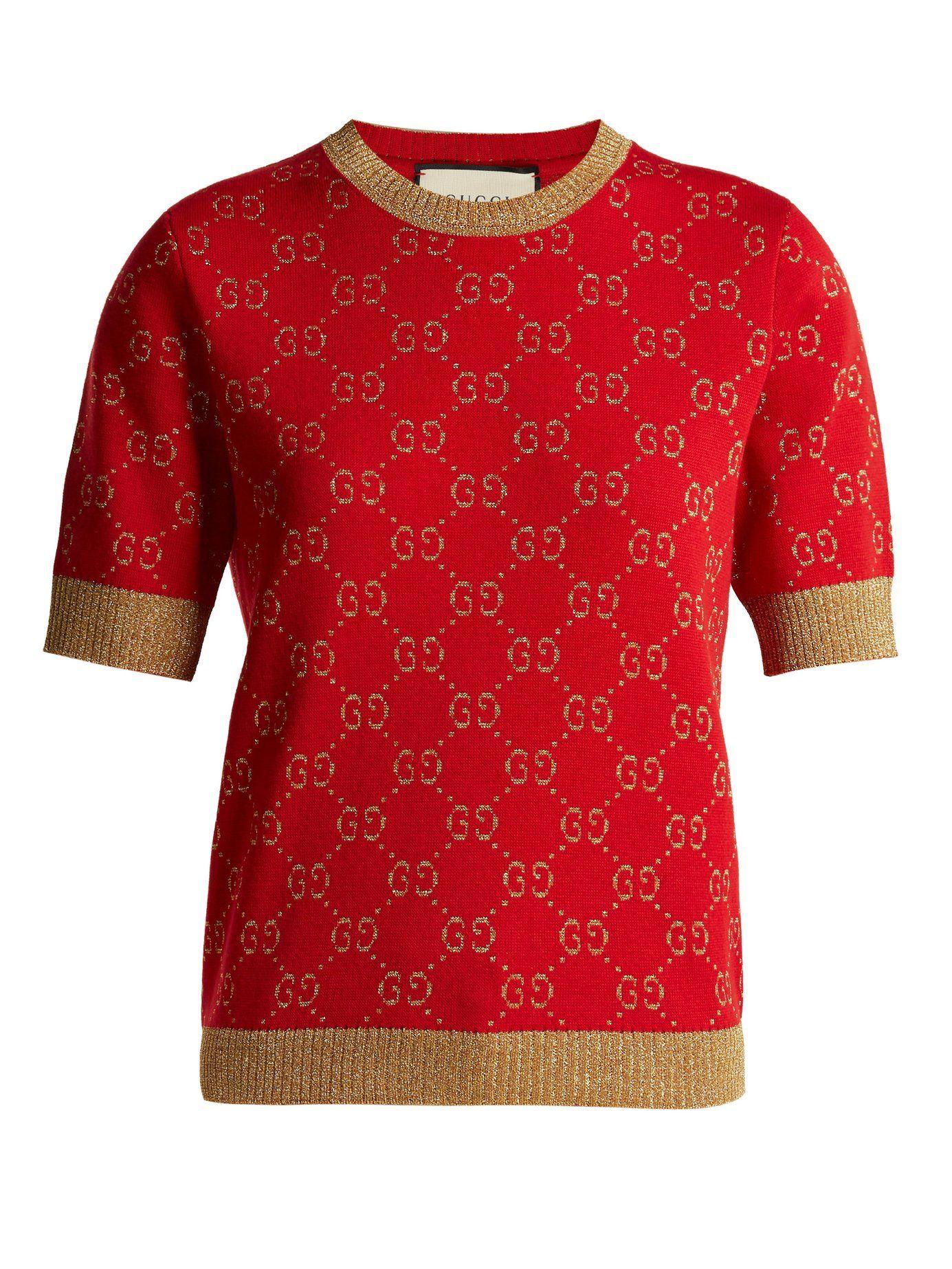 GG jacquardknit cottonblend sweater Gucci