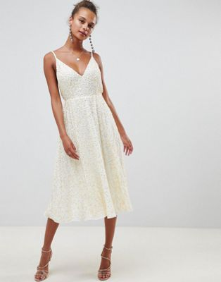 f03f5b7153dd ASOS DESIGN delicate sequin midi plunge dress with full skirt ...