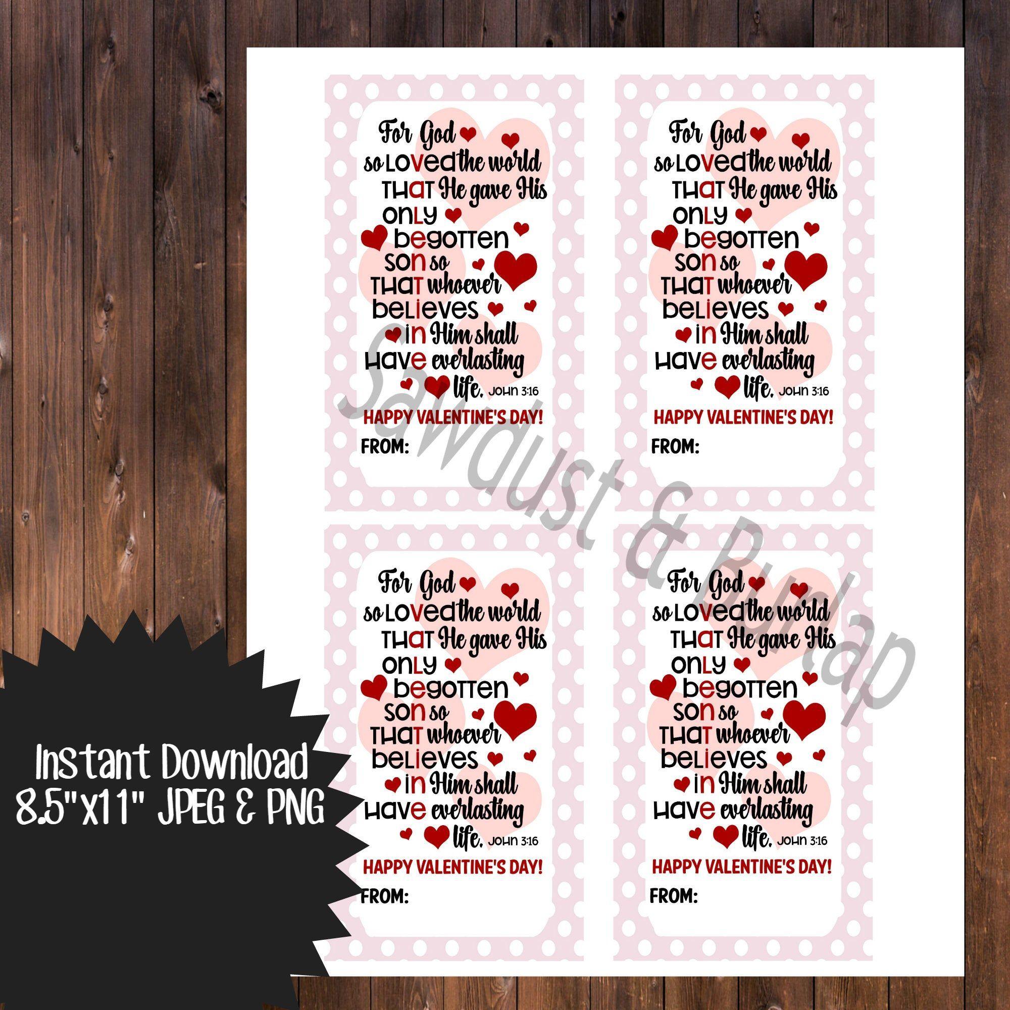 Bible Verse Valentine Cards John 3 16 Valentines