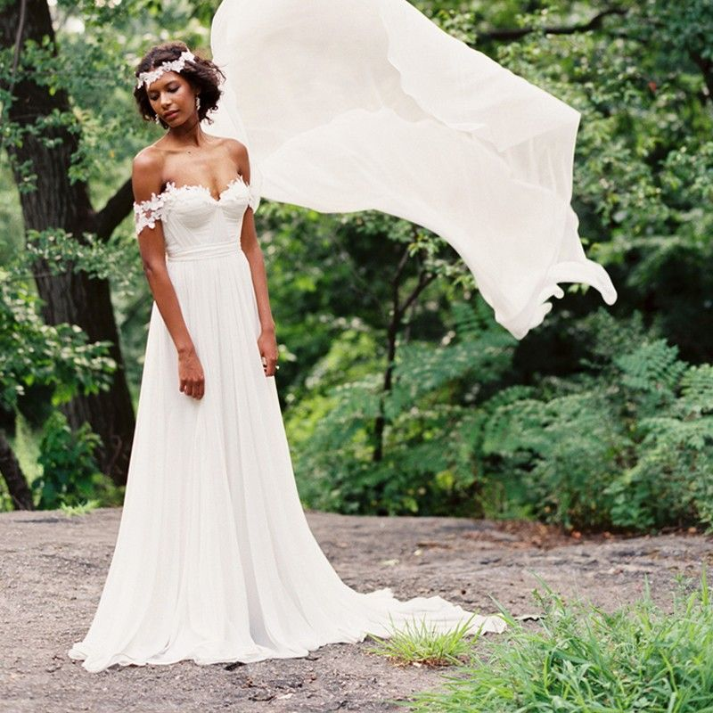 Off Shoulder Bohemian Pleat Appliques Chiffon Beach Wedding Dress