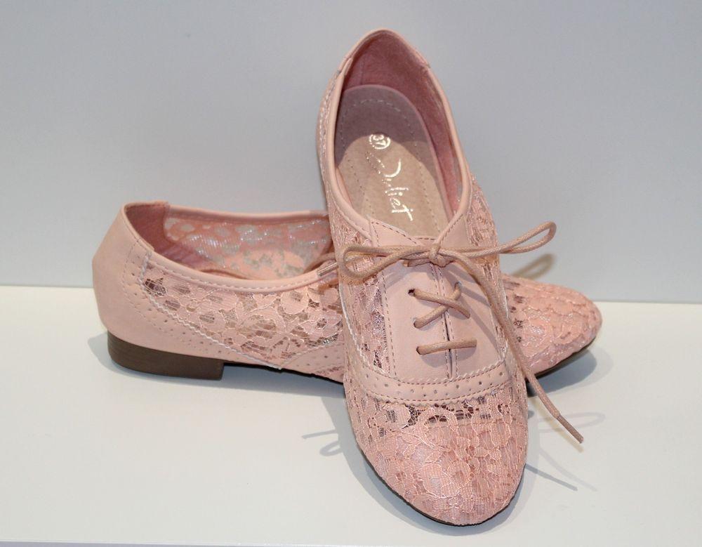 Chaussures Femme Rose Derbies 36 37 Ballerines Espadrilles Dentelle H2D9EIYW