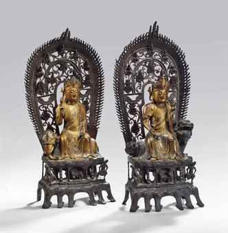 明 十七世紀 銅漆金觀音及普賢菩薩坐像 一組兩件