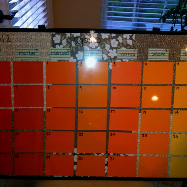 Diy Paint Sample Calendar For My Spanish Classroom Cheap Frame