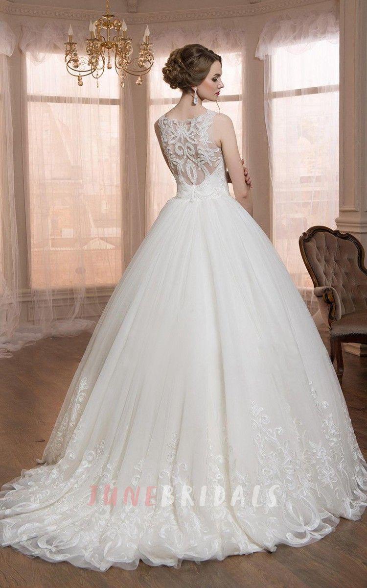 Sleeveless sleeve tulle lace weddig dress ball gown wedding
