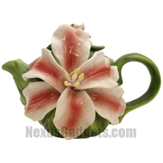 This colorful teapot is modeled after a lily flower. It is made of porcelain and has a cap with a budding lily on it.