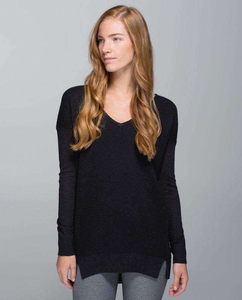 61e9ed39fb9 Preowned LULULEMON Heathered Black Gray Waffle Knit V-Neck THE SWEATER LIFE  SZ 8  fashion  clothing  shoes  accessories  womensclothing  activewear  (ebay ...