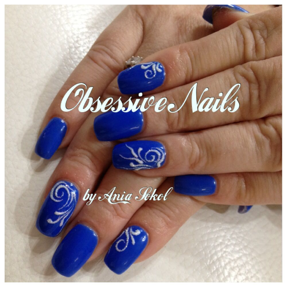 Electric Blue Gel Nails with Obsessive Frotty Design :)
