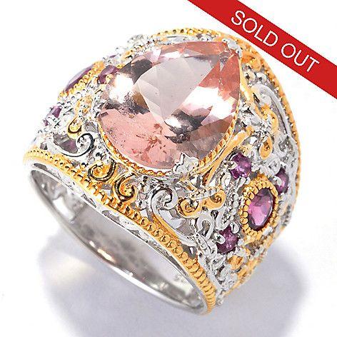 136-044 - Gems en Vogue 5.11ctw Morganite & Rhodolite Wide Band Ring