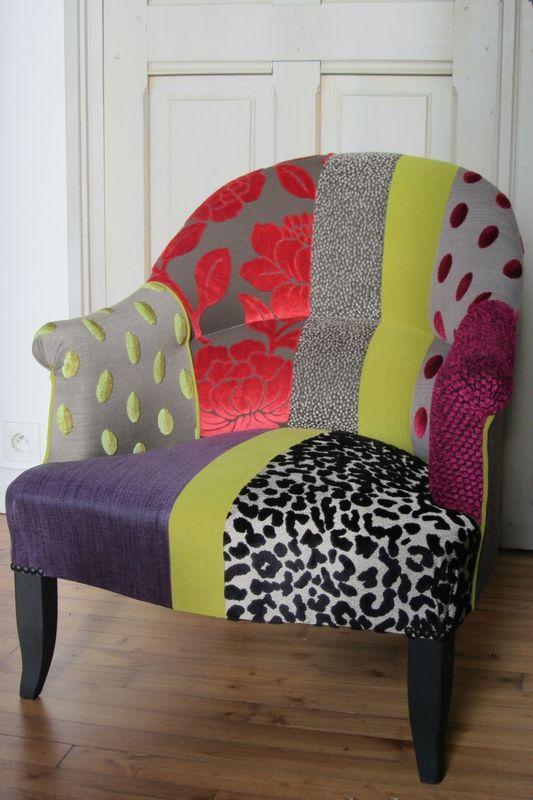 Crapaud en patchwork tapissier lesneven tissus leopold clarke clarke - Fauteuil tissu patchwork ...