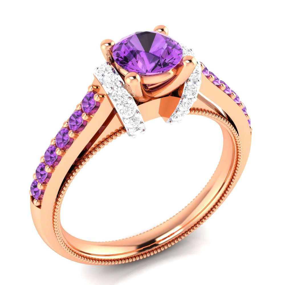 carat real solitaire purple amethyst with diamond k gold