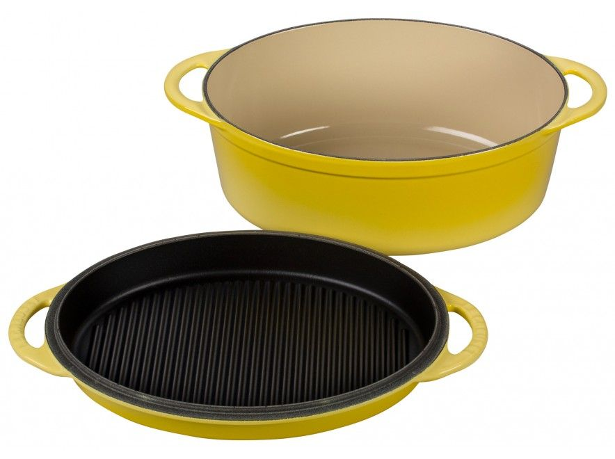 soleil oval oven with grill pan lid le creuset