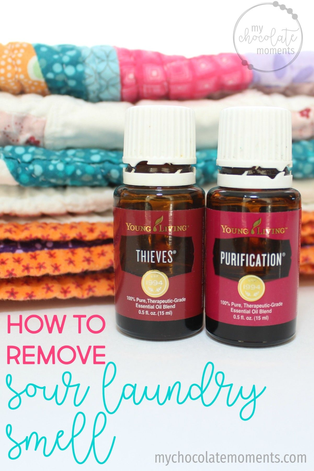 how to remove sour laundry smell with Young Living essential oils