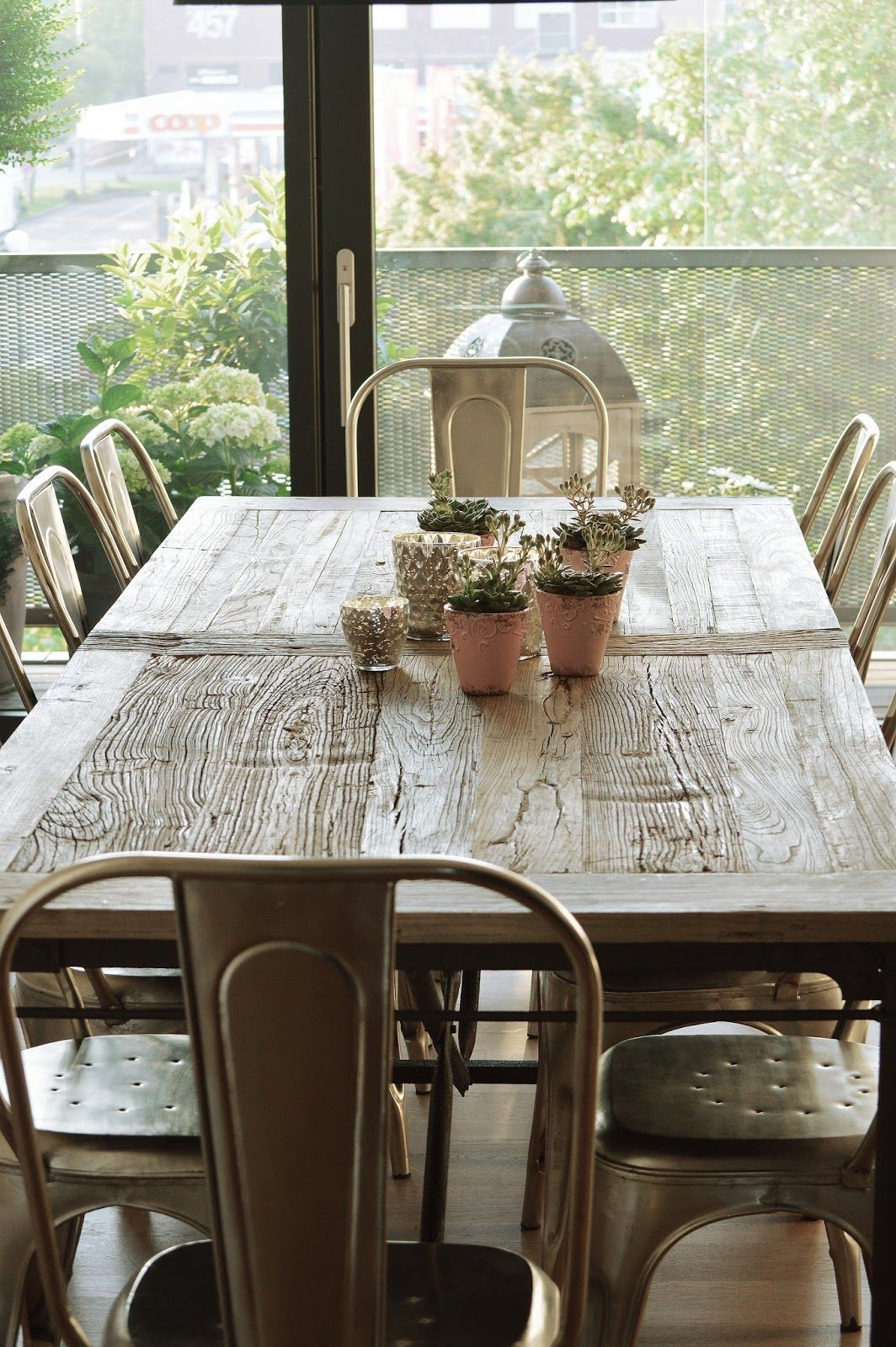 Rustic Table With Tolix Chairs Love The Mix Dining Table
