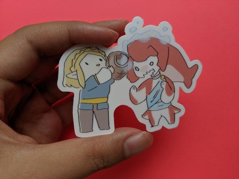 Link & Zelda Stickers made by waifuarts - #art #botw #breath #cute #games #gaming #ganon #geek #gifts #hylian #hyrule #illustration #kawaii #legend #link #loz #lynel #merch #nintendo #of #princess #sidon #stickers #switch #The #video #wild #zelda #zora