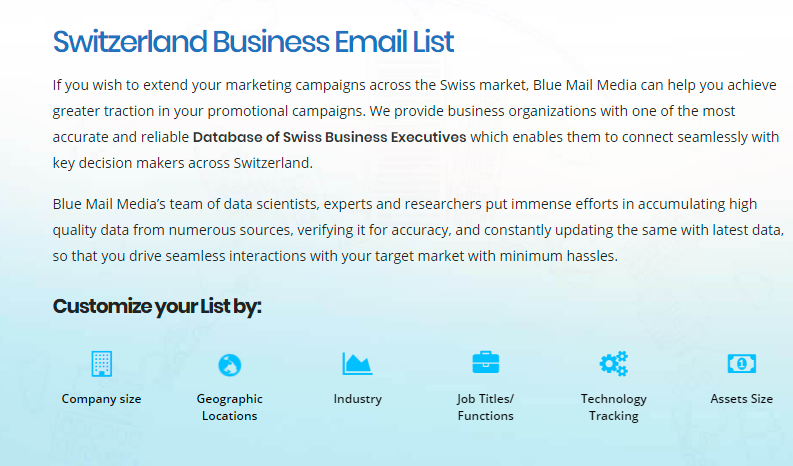 Switzerland Business Email List Switzerland Mailing List