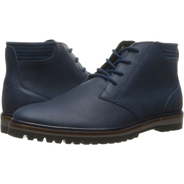 Lacoste Montbard Chukka 316 (Navy) Men's Shoes ($165) ❤ liked on Polyvore  featuring men's fashion, men's shoes, men's boots, navy, navy blue mens  boots, ...