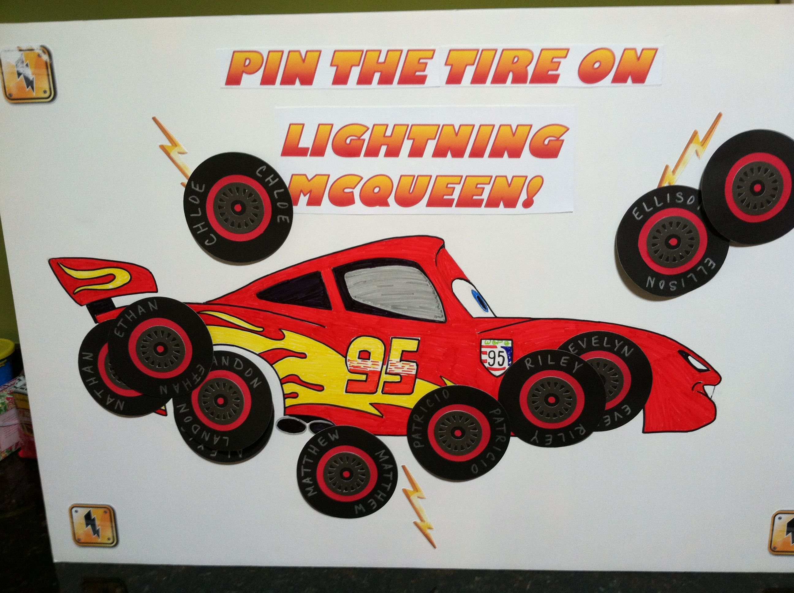 Cars Birthday Pin The Tire On Lightning Mcqueen Using A Piece