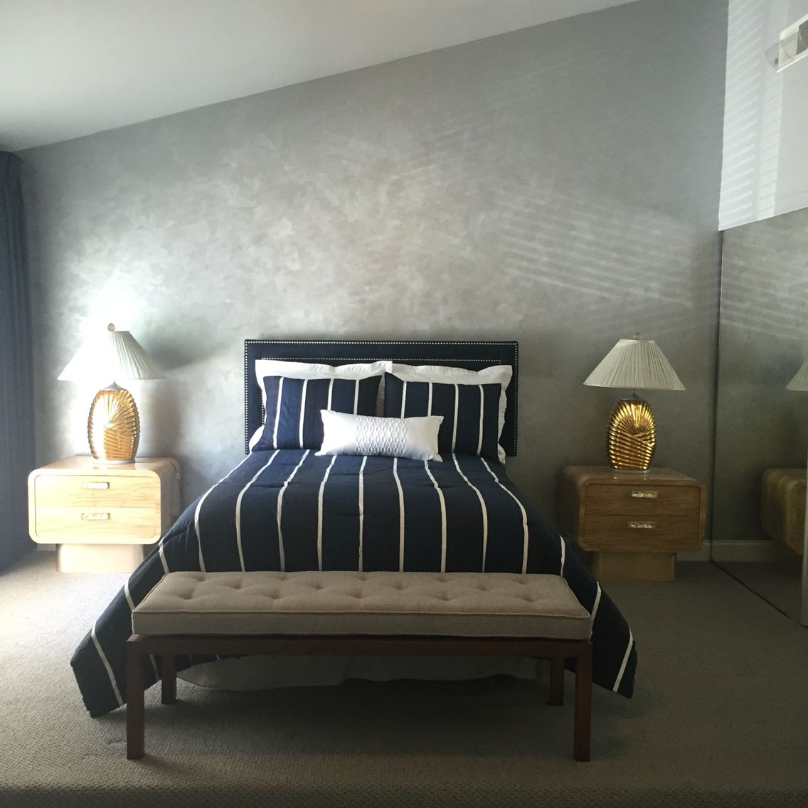 Metallic Accent Wall Besroom: Modern Masters Platinum On Bedroom Accent Wall. (With