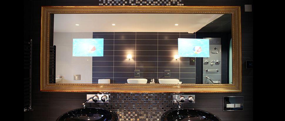 Waterproof And In Wall Televisions From Aquavision Framed Bathroom Mirror Bathroom Mirror Lighted Bathroom Mirror