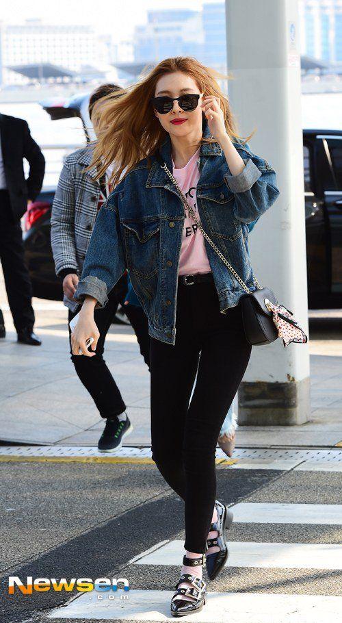 Denim Jacket With Black Pants Fashion Of Wonder Girls Sunmi Sweater Skirts Hipster