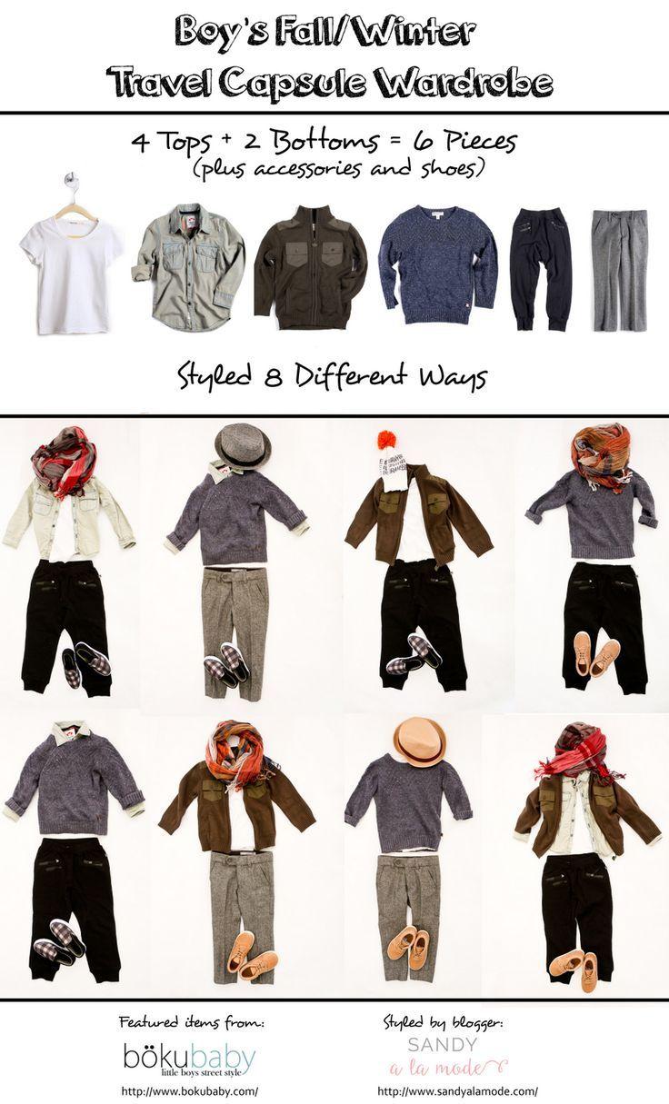 f3f6e421fe8 Boy's Fall/Winter Travel Capsule Wardrobe - 6 pieces, 8 different ...