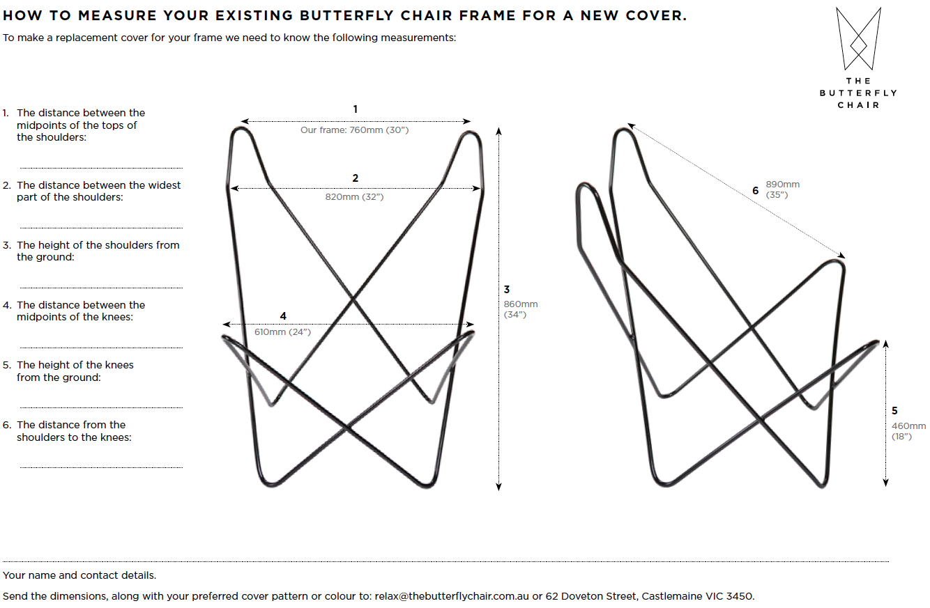 How To Measure Your Butterfly Chair Frame For A
