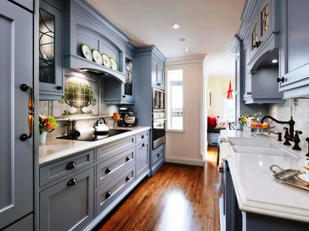 Pin by home garden on kitchens pinterest kitchen for Galley kitchen with breakfast nook