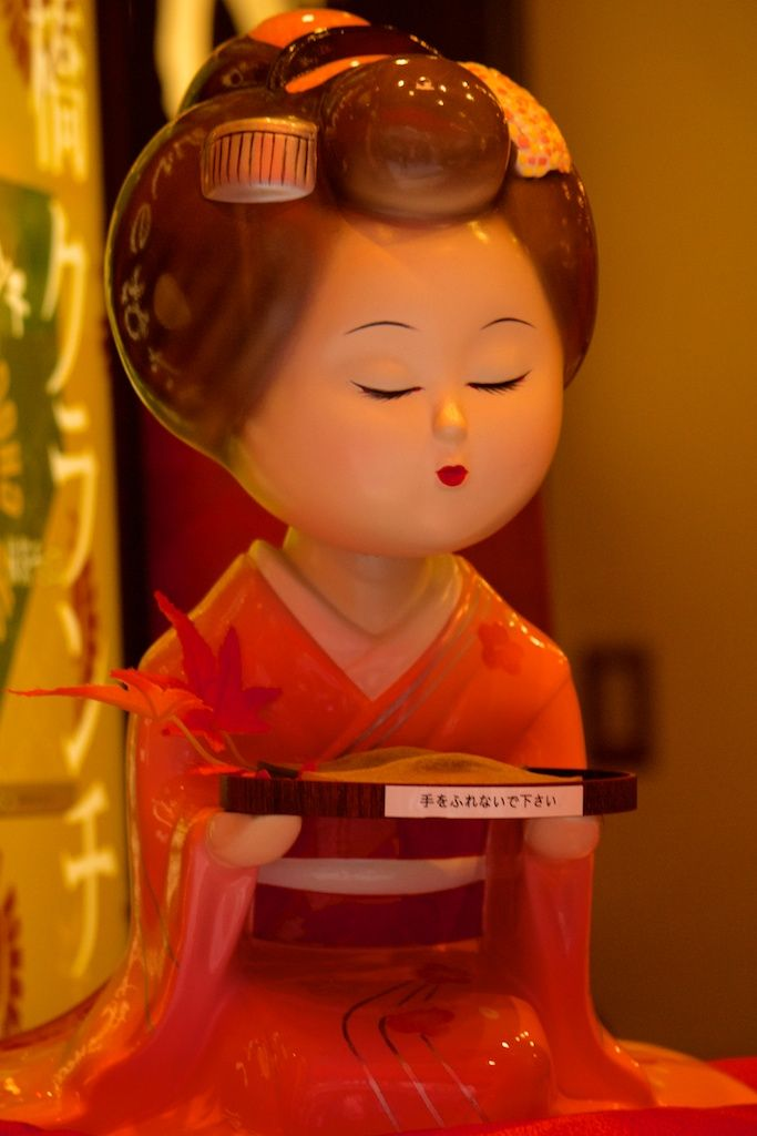 """Good morning everyone! Christmas is drawing near and so is the end of the year, it goes so fast! Saw this Japanese doll in a window in Nene-no-michi in Higashiyama-ku, Kyoto. It says """"Don't touch""""...."""