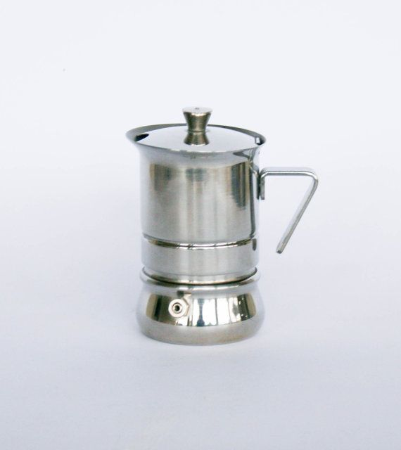 Vintage Stainless Steel Coffee Maker / Espresso Maker Size: 1 cup  Measures: height 12 cm = 4,7 base 5,5 cm = 2,1  Weight 250 gr   Take a look around