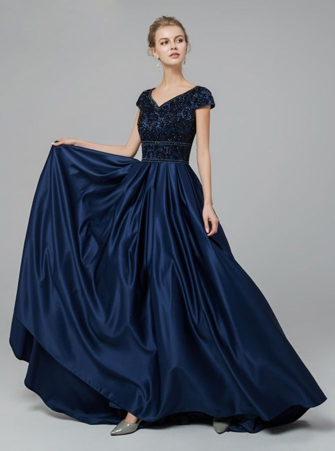 Modest Prom Dress with Cap Sleeves,Satin A-line Prom Dress,12012 #modestprom