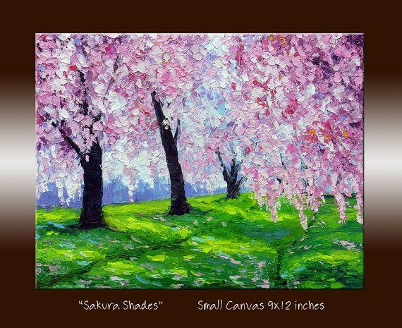 Cherry Blossom Sakura Pink Tree Landscape Oil Painting With Etsy Tree Painting Oil Painting Landscape Texture Painting