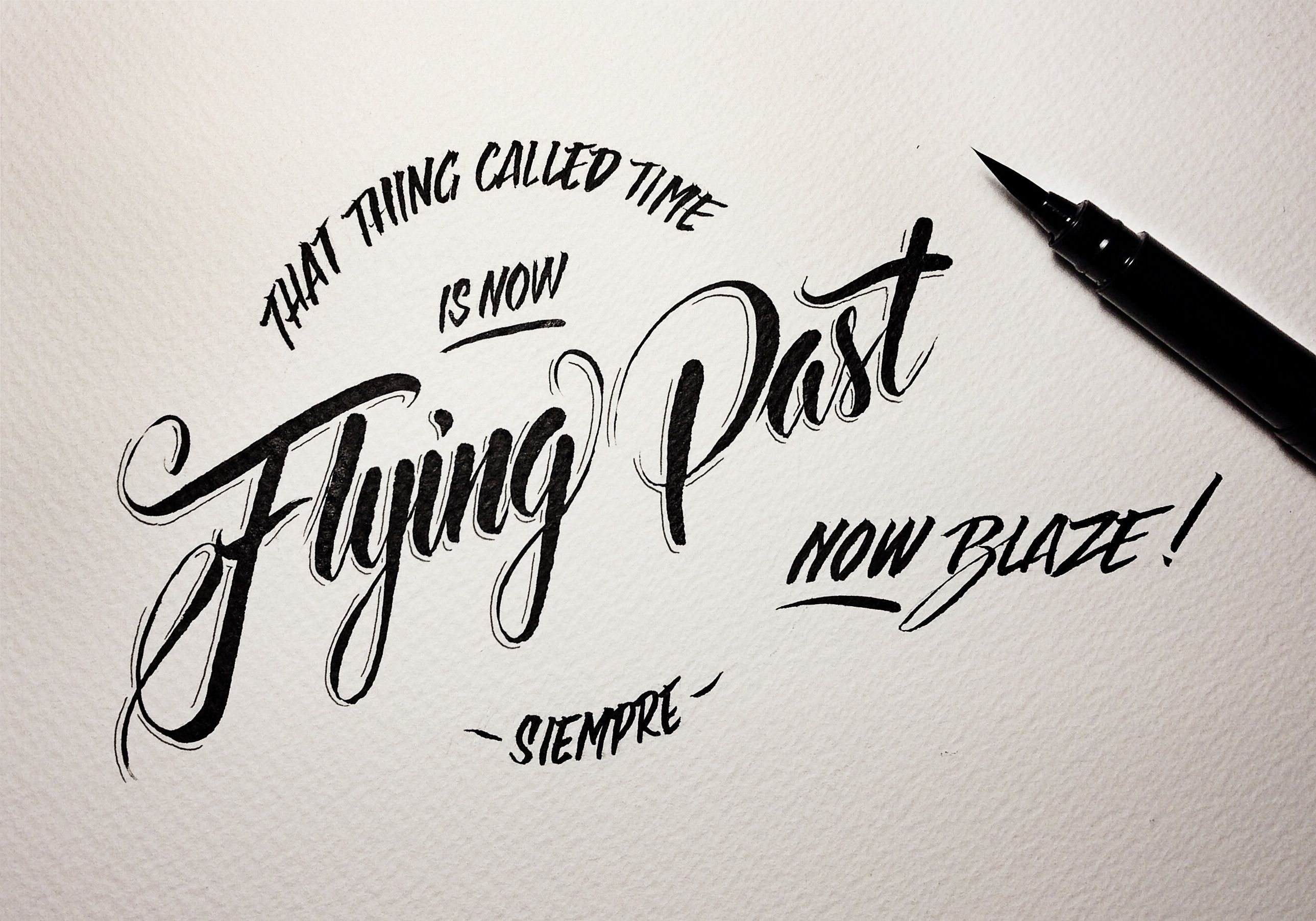 Flying past. brush pen on water colour paper. #typography #lettering