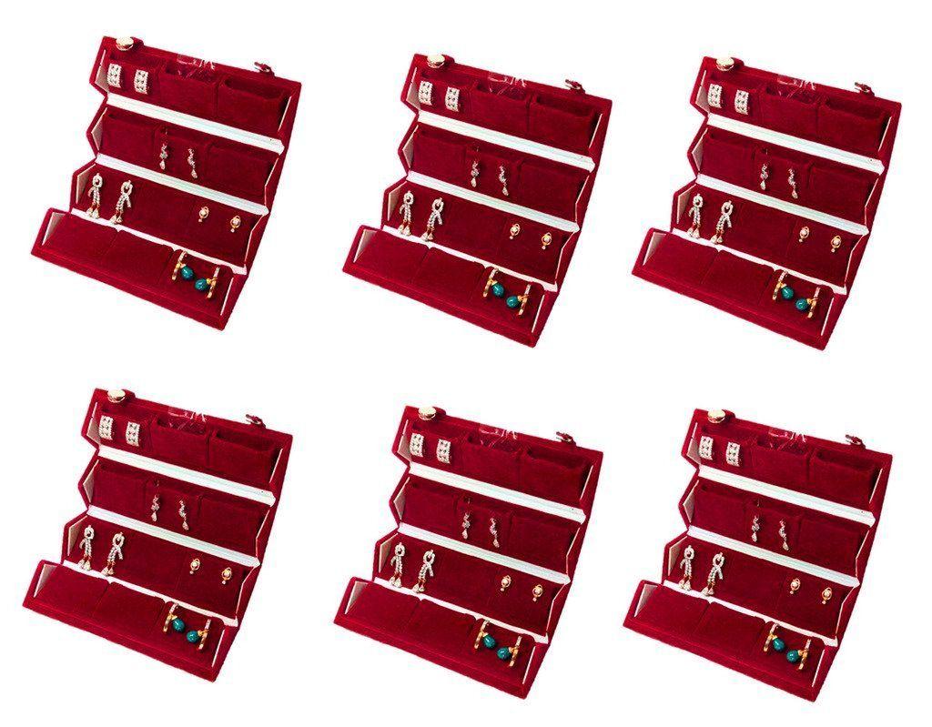 Atorakushon 12 pair Earrings 24pc Nose Pin Organizer Red Velvet