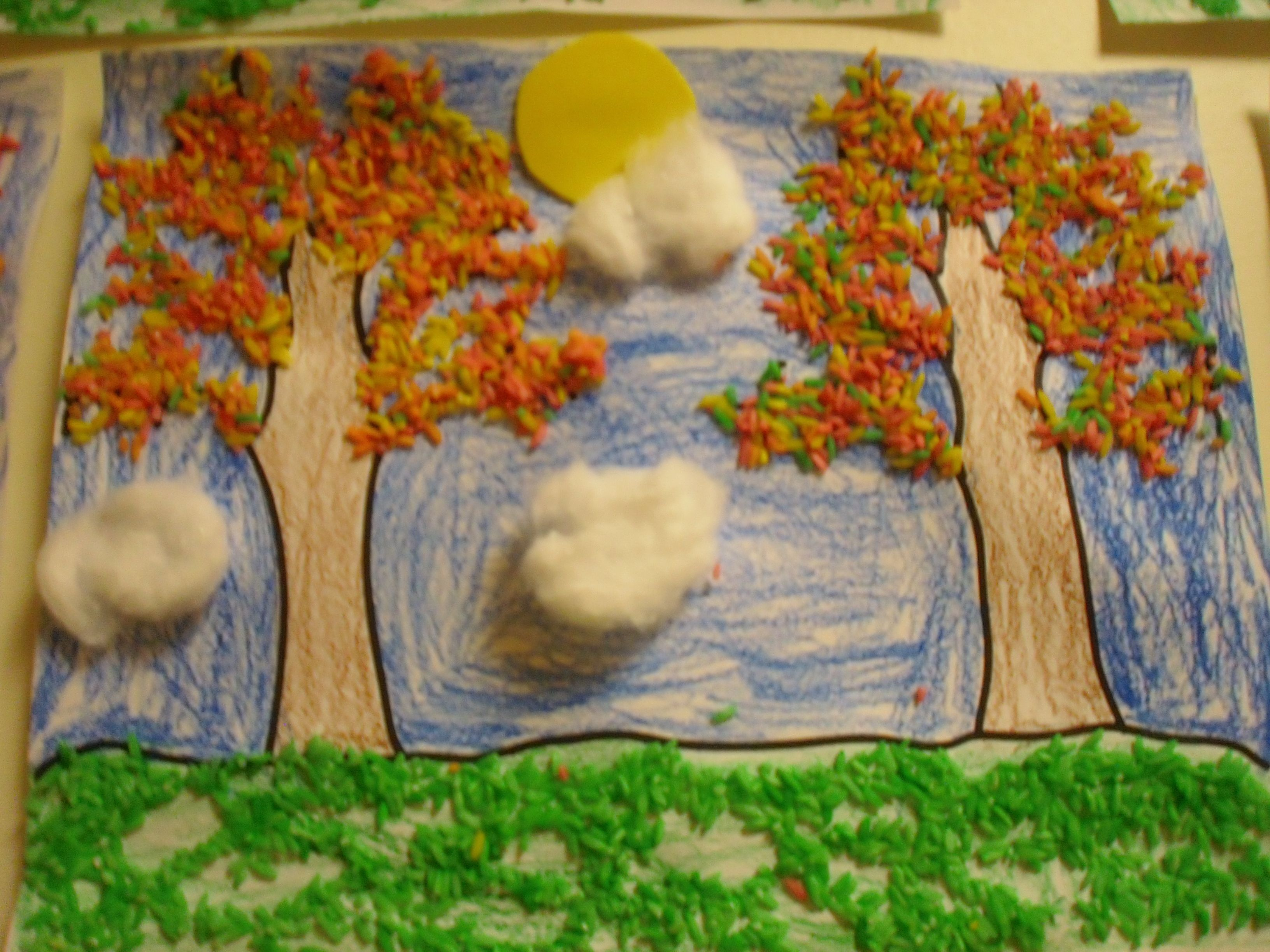 Fall Collage Art Using Colored Rice And Cotton Balls