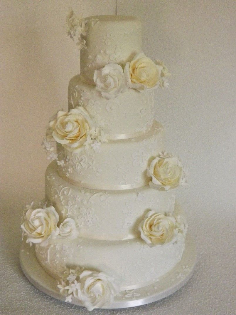 Classic white piping detail on a cream cake wedding pinterest