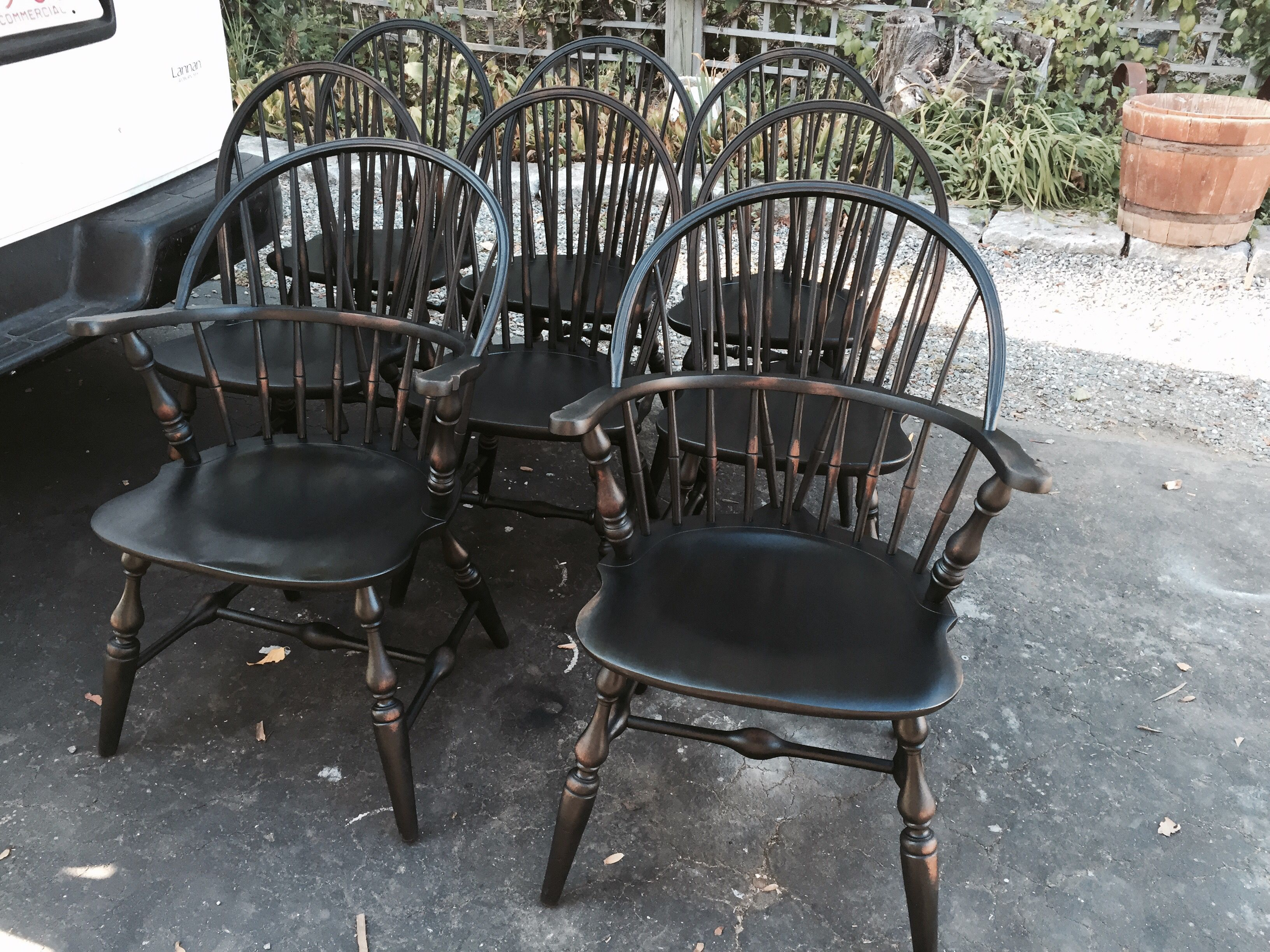 Set of 10 black Windsor Chairs Restored painted and distressed by