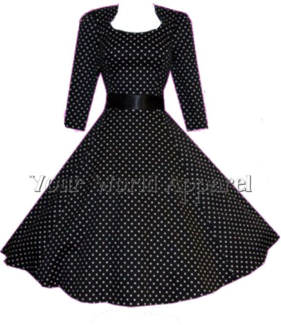7b1c360096 H&R LONDON BLACK POLKA DOT PINUP SWING 1950's HOUSEWIFE DRESS VINTAGE  ROCKABILLY #HandRLondonHeartsandRoses #TeaDress #Casual