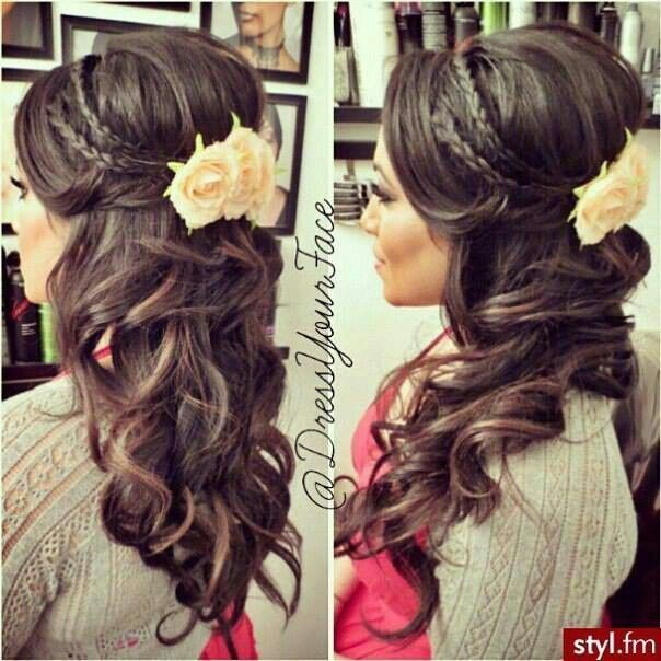 Bridesmaid Hairstyles Half Up Half Down Simple Curls With Plats  Fashion Blog  Pinterest  Hair Makeup Prom