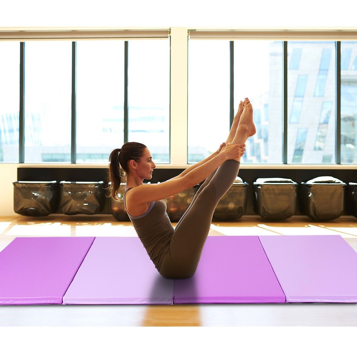 "4' x 10' x 2"" Thick Folding Gym Gymnastic Mat Gymnastics"