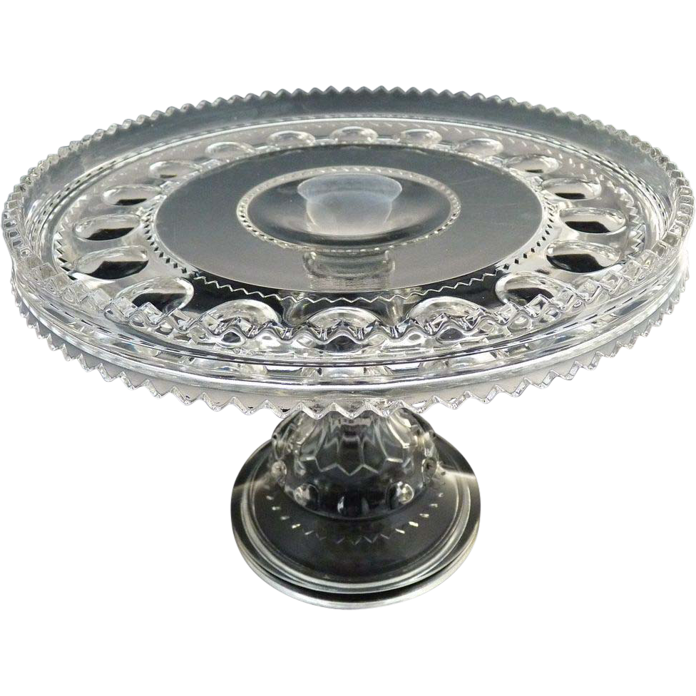 Antique glass pedestal cake stand Kings Crown Adams Glass c. 1890s