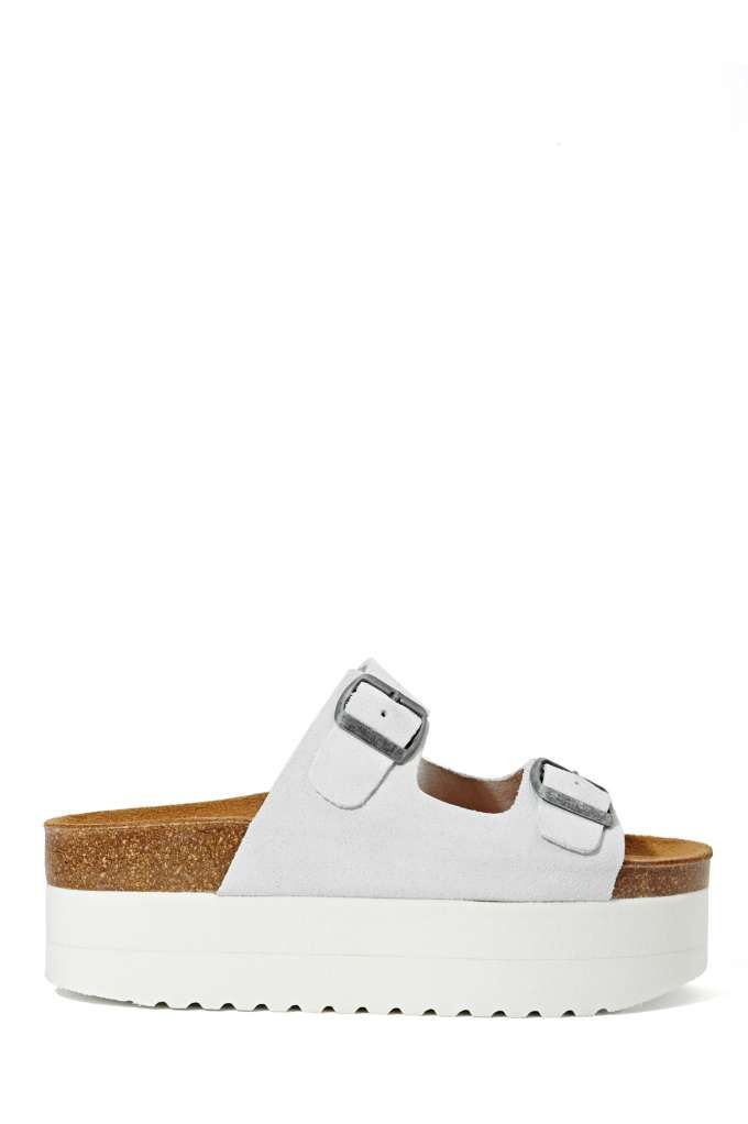 Jeffrey Campbell Aurelia Platform Sandal - White Suede | Shop Shoes at Nasty Gal