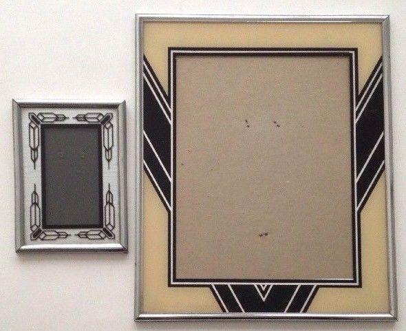 2 Vintage Art Deco Reverse Glass Painted Metal Picture