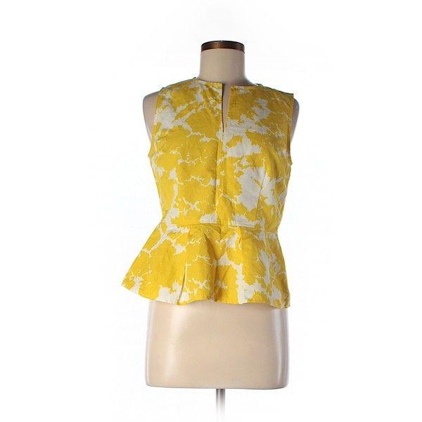 Gap Sleeveless Blouse ($16) ❤ liked on Polyvore featuring tops, blouses, yellow, yellow sleeveless top, yellow blouse, yellow top, sleeveless tops and gap tops
