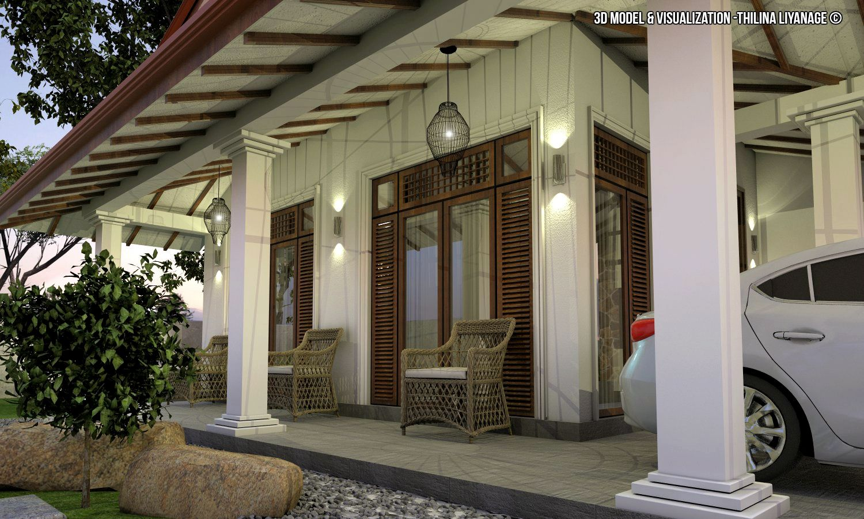 Proposed House At Nittambuwa Sri Lanka House Including Car Porch Verandah Sitting Dining Kitchen T V Lounge Large Balc Porch Veranda Outdoor Decor Architecture