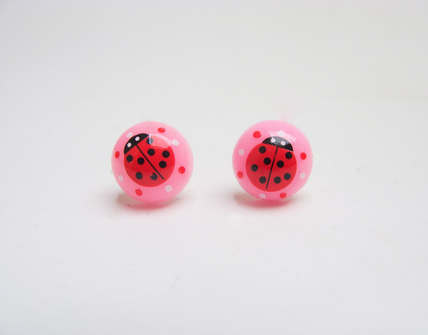 Kawaii Kids Cute Y Pink Ladybug Earrings 8 00 Via Etsy