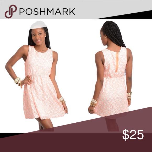 Neon Orange & White Skater Dress 50% cotton 50% polyester lace overlay fully lined skater dress Dresses